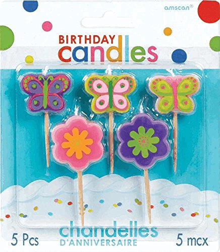 Amscan Flower and Butterfly Toothpick Birthday Candle Set, Multicolor