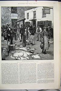 Impresión Antigua del Arte Victoriano del Mercado de Polperro Cornualles de la Venta de 1888 Pescados