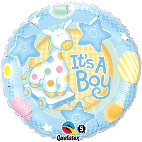"New Baby It'S A Boy Soft Giraffe Qualatex 18"" Foil Balloon"