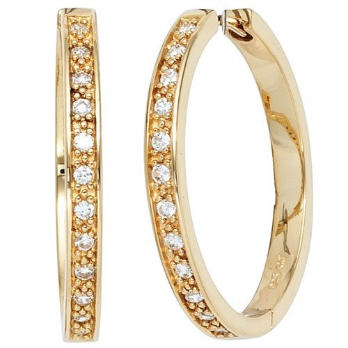 Pair of Creole Hoop Earrings with 29.8 MM 24 vergoldet
