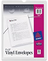 Avery Top-Load Clear Vinyl Envelopes with Thumb Notch, 9 x 12 inches Insert Size, 10 per Pack (74804)