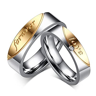 ROWAG 6MM Mens Gold Plated Stainless Steel Couple Wedding Bands for Him and Her 5MM Womens Shiny Rhinestones Engagement Promise Rings
