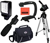 Intermediate Accessory Package For Sony HDR-AS100V HDR-AS100VR HDR-CX900 HDR-PJ275 HDR-PJ340 HDR-PJ540 HDR-PJ810 - Includes Deluxe LED Video Light + Video Bracket + Mini Zoom Directional Shotgun Microphone + Soft Medium Camcorder Case + 57 Inch Tripod For + More!!