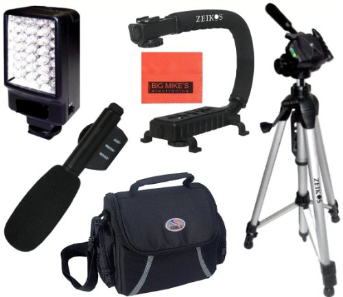 Intermediate Accessory Package For Sony Hdr-As100V Hdr-As100Vr Hdr-Cx900 Hdr-Pj275 Hdr-Pj340 Hdr-Pj540 Hdr-Pj810 - Includes Deluxe Led Video Light + Video Bracket + Mini Zoom Directional Shotgun Microphone + Soft Medium Camcorder Case + 57 Inch Tripod For