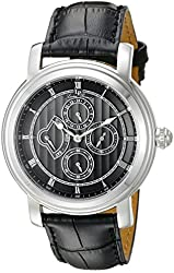 Lucien Piccard Men's LP-40009-01 Valarta Stainless Steel Watch with Black Leather Band