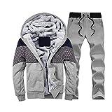 SemiAugust(セミオーガスト)メンズ 秋冬用 アウトウェアセット 厚いスーツ プラスベルベット 着ごこち抜群 スウェット  男性用 カラーはグレー サイズはXL