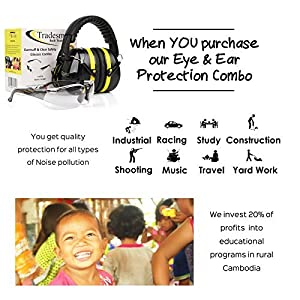 TRADESMART Shooting Earmuffs and Anti Fog, Scratch Resistant Safety Glasses Combo Pack/Kit (1pk Clear) (Color: Yellow & Black)