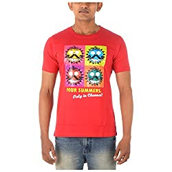 Chennai Gaga Men's Round Neck Cotton T-shirt 4 Summers 112-3-820-Red-M