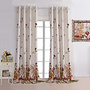Leyden grommet top elegant prints red flowers linen curtains for living room curtain - Amazon curtains living room ...