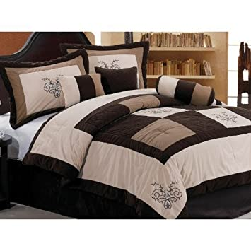 Good Chezmoi Collection Pieces Luxury Brown Beige and Coffee Embroidery Patchwork Comforter Set