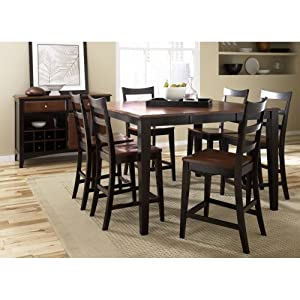 Hardwood Dining Table w Leaf & Two-Tone Finish - Bristol Point