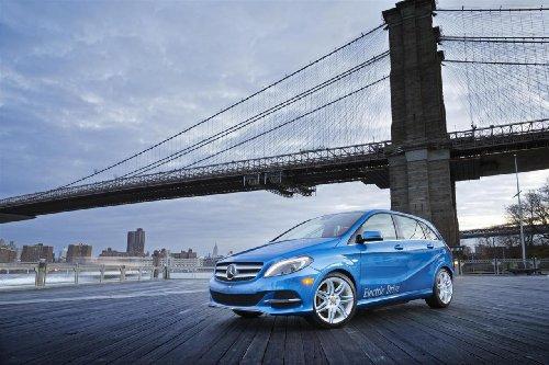 "Mercedes-Benz B-Class Electric Drive Car Art Poster Print On 10 Mil Archival Paper Blue Front Side Bridge View 20""X15"""