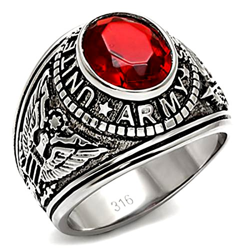Stainless Steel Us Army Military Ring With Red Stone, Size 11