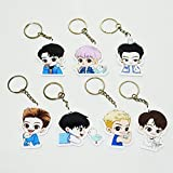 7Pcs/Set Kpop Cute Cartoon GOT7 Keychain Key Rings Holders Hot Gift for Fans
