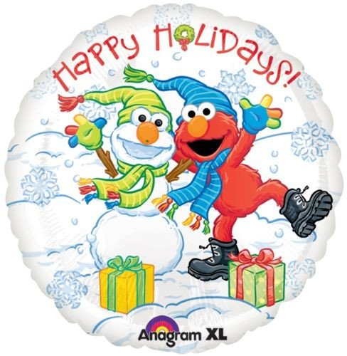 "18"" Elmo Happy Holidays Anagram Balloons - 1"