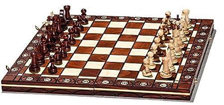 Woodeyland Fabriqué à la main en bois SÉNATEUR D'ÉCHECS PROFESSIONNEL 40x40 cm