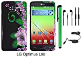 Premium Vivid Design Snap-on Protector Hard Cover Case For LG OPTIMUS L90 (D415) (US Carrier: T-Mobile) + Car Charger + 3.5MM Stereo Earphones + 1 of New Assorted Color Metal Stylus Touch Screen Pen (Black Green Pink Flower)