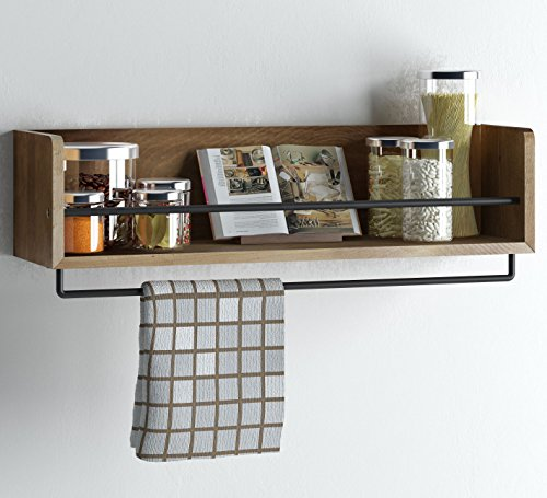 Rustic Kitchen Wood Wall Shelf with Metal Rail Also Multi Use Can Be Used As a Spice Rack Living Room or Bedroom Wall Shelf , Walnut Hand-Stained