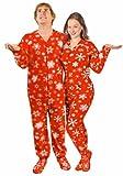Adult Footed Pajamas Snowflakes Red Fleece Drop Seat Footie Pajamas