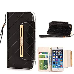 """iphone 6 case,Candywe iphone 6 4.7"""" leather,iphone 6 leahter case,iphone 6 wallet case,Elegant Design Wallet leather case cover for iPhone 6 With strap Black"""