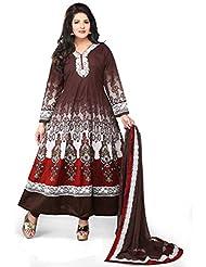 Utsav Fashion Women's Brown Cotton Readymade Abaya Style Churidar Kameez-Large