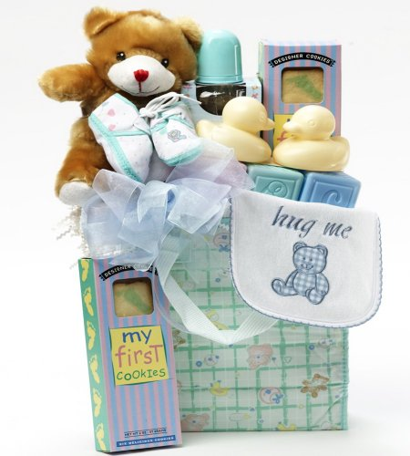 Sweet Baby Boy Diaper Bag with Teddy Bear Gift Basket - Blue and Pastel Green
