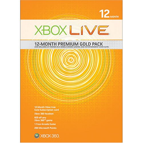 Xbox 360 Live 12 Month Gold Kit