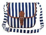 Lychee Bags Women's Blue, White Canvas/PU Sling Bag (LBHBCP19ST)