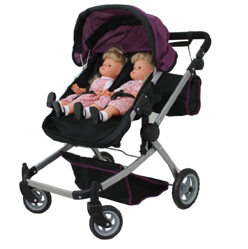 Babyboo Deluxe Twin Doll Pram/Stroller Purple & Black With Free Carriage Bag (Multi Function View All Photos) - 9651A front-64251