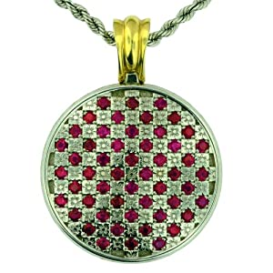 Rarity Adorned Hand Engraved Natural Ruby Pendant, 14k White and Yellow Gold