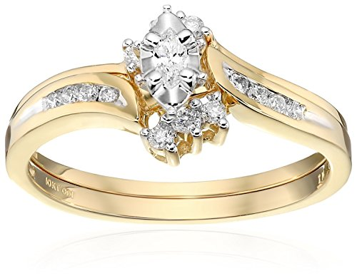 10k Yellow Gold Marquise and Round Diamond Bypass with Interlocking Band Bridal Set (0.25 cttw I-J Color, I2-I3 Clarity), Size 6 (Anniversary Rings Yellow Gold compare prices)