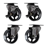 "(Set of 4) 4"" X 1.25"" CC Vintage Casters - 2 Swivel and 2 Swivel with Brakes"