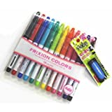 Pilot Frixion Colors Erasable Marker - 12 Color set /Value set Which Attached the Eraser Only for Friction