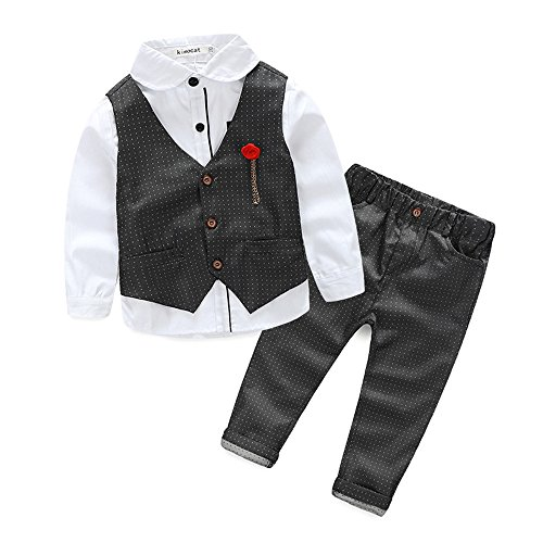 Sikye Kids Boys Small Suits Long Sleeve T-Shirt Tops+Waistcoat+Pants Clothes Outfits (5T For Boy)
