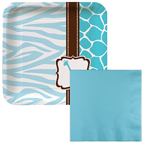 Wild Safari Baby Blue Giraffe Dessert Napkins & Plates Party Kit for 8