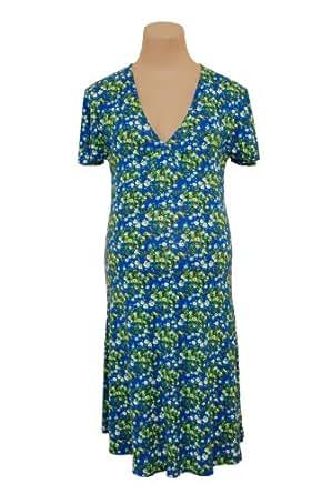 Fragile Maternity v-neck dress Blue-XXL