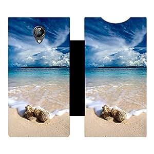Skintice Designer Flip Cover with Vinyl wrap-around for Micromax canvas Bolt D320 , Design - Sea beach