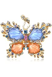 Golden Tone Pearlescent Paint Blue Orange Rhinestone Butterfly Adj Fashion Ring