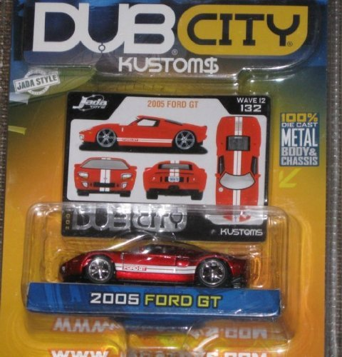 Jada Dub City Kustoms 1:64 2005 FORD GT Red with Double White Stripes - 1