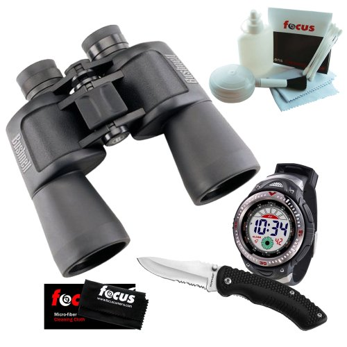 Bushnell Powerview 12x50 Porro Prism Binoculars + Digital Watch & 8 Inch Knife Combo + 5 Piece Deluxe Cleaning and Care Kit + Accessory Kit