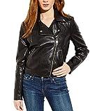 Miss Sixty Women's Black Faux Leather Asymmetrical Motorcycle Jacket (Large)