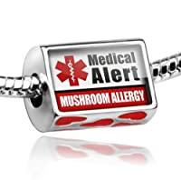 """Neonblond Bead Red Love Heart Medical Alert Red """"Mushroom Allergy"""" - Fits Pandora charm Bracelet by NEONBLOND Jewelry & Accessories"""