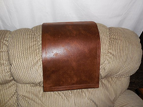Chair Cover Recliner Pad Headrest Furniture Protector LG Saddle Brown Leather Look 14X30 Sofas Loveseats Theater Seating Chaises (Chair Headrest Covers compare prices)