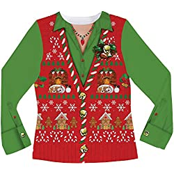Faux Real Women's Ugly Xmas Sweater Vest Long Sleeve T-Shirt, Multi, X-Large