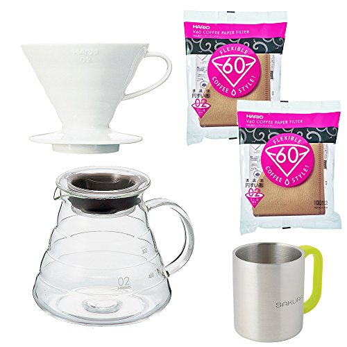 Hario Coffee Dripper VDC-02W V60 Ceramic White+Range Server XGS-60TB 600Ml Clear+Paper Filter Natural VCF-02-100M Set of 2 Pack (Total 200 Sheets)+Original Original Stainless Steel Mugs (V60 Coffee Server Set compare prices)