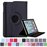 HDE 360° Rotating Leather Folding Folio Case Stand Cover for iPad Mini 1/2/3 and Retina Tablet (Black)