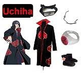 Cosplay de Traje para cosplay Naruto Akatsuk Ninja Uchiha Itachi Set--manto (XXL: Tama�o 185cm-190cm) + Itachi Uchiha Ninja diadema + collar + anillo + zapatos