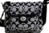 Coach Signature Swingpack Crossbody Messenger Bag Purse Tote 45026 Black White thumbnail