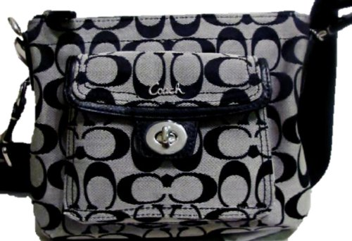 Coach Signature Swingpack Crossbody Messenger Bag Purse Tote 45026 Black White