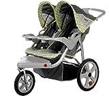 InStep Safari Swivel Wheel Double Jogger, Gray/Green